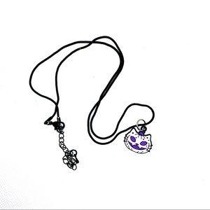 Scary, Purple & White Cat, Halloween necklace! NIP!